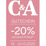 C&A Filialen – 20 % Rabatt auf euren Einkauf (19. – 24.10.)