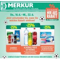 Merkur: -25 % auf 3 Warengruppen (zB.: alkoholfreie Getränke) bis 22.6.