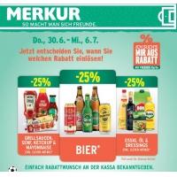 Merkur: 25 % Rabatt auf 3 Warengruppen (zB.: Bier) bis 6. Juli 2016