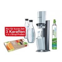 Soda Stream Wassersprudler Crystal mit 3 Karaffen + Sirupe um 83,25 €