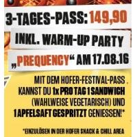 Frequency 2016: 4 GRATIS Sandwich&Getränke mit Hofer-Festival-Pass