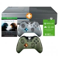 Xbox One 1TB + 2x Halo 5 Controller (Grün+ Blau) + Halo 5: Guardians (DLC) + 12 Monate Xbox Live um nur 299 € inkl. Versand