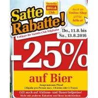 Billa: 25 % Rabatt auf Bier (Radler) bis 14.8.2016 für Clubmitglieder