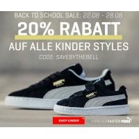 """Puma Onlineshop – 20 % Rabatt in der Kategorie """"Kinder"""" & Rücksäcke"""