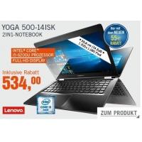 Cyberport Cyberdeals – zB Lenovo Yoga 500-14ISK (Core i5-6200U, 8GB RAM, 1TB HDD) um 534 € statt 649,41 €