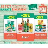Merkur: 25 % Rabatt auf 3 Warengruppen (zB.: Bier) bis 7. September