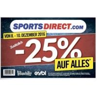 Sports Direct: 25 % Rabatt auf ALLES in den Filialen (8. – 10.12.)