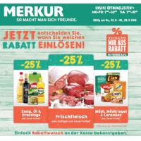 Merkur: -25 % auf 3 Warengruppen (zB.: Frischfleisch) bis 28.9.