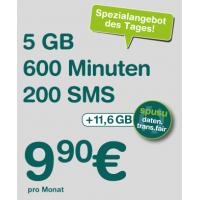 Spusu 5800 Tarif – 200 SMS / 600 Minuten / bis zu 16,6GB Daten um 9,90€