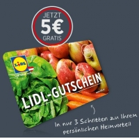 GRATIS – 5 € Einkaufsgutschein für Lidl (gültig ab 10 € Einkaufswert)