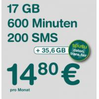 spusu 17.800 LTE Tarif  – 200 SMS / 600 Minuten / 17GB Daten um 14,80€