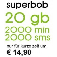 superbob – 20 GB (inklusive LTE) + 2.000 Min + 2.000 SMS um 14,90 €