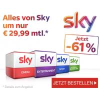 Sky Cyber Deal: -61% Rabatt – Gesamtpaket um 29,99 € statt 76,99 €!