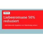 Thalia Onlineshop –  50 % Rabatt auf e-book Liebesromane