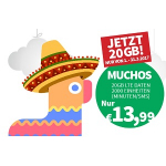 """educom Tarif """"muchos"""" – Unlimitert SMS / Telefonie + 200 Min in die EU + 20 GB Daten um 13,99 € pro Monat & 20 € Startbonus"""