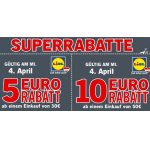 Lidl – 5 € Rabatt ab 50 € oder 10 € Rabatt ab 100 € (nur am 18. April)