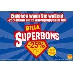 Billa Superbons – 25 % Rabatt auf 12 Warengruppen (bis 31.07.)