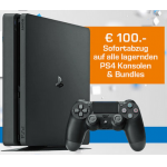 Playstation 4 Slim Konsolen mit 100 € Abzug ab nur 199 € bei Saturn