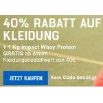 Myprotein Onlineshop – 40 % Rabatt auf Kleidung + 1kg Whey GRATIS
