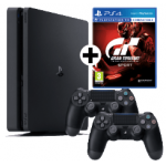 Sony PS4 Slim 1TB + 2 Controller + GT Sport um 299 € statt 398,24 €