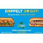 World Sandwich Day bei Subway – 15cm Sub 1+1 GRATIS (am 3.11.)