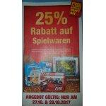 25% Rabatt auf Spielwaren bei Metro am 27. & 28. Oktober 2017
