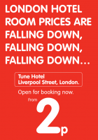 Um 2 pence pro Nacht in London übernachten @Tune Hotel London