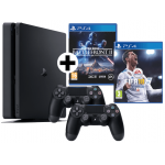 PlayStation 4 1TB + 2x Controller + Star Wars BF II + FIFA 18 um 333 €
