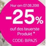 BIPA Onlineshop – 25 % Rabatt auf das teuerste Produkt (nur heute)