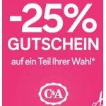 C&A Filialen – 25% Rabatt auf einen Artikel eurer Wahl
