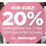 Reno Onlineshop – 20% Rabatt ab 2 Paar Schuhen (inkl. Sale)