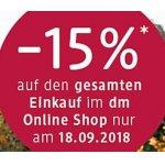 DM Onlineshop: 15% Rabatt auf den gesamten Einkauf (nur heute)