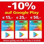 Interspar/ Eurospar – 10 % Rabatt auf Google Play Wertkarten (bis 30.10.)