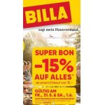 Billa (Filialen & Online) – 15% Rabatt durch Super-Bon (21. & 22.06.)