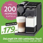 DeLonghi EN 560.B Lattissima Touch Nespressomaschine + 200 Nespresso Kapseln inkl. Versand um 179 € statt 216 €