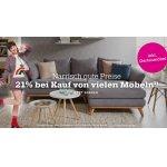 21% Rabatt auf ein Möbelstück / 25 % auf Haushaltsartikel bei mömax.at