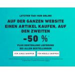 Hollister Onlineshop: 50 % Rabatt auf den 2. Artikel + kostenloser Versand