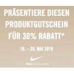 Nike Factory Stores: 30% Rabatt auf alles mit Voucher von 16. – 26. Mai!