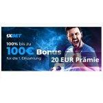 1XBET Neukunden – 100% Einzahlungsbonus bis 100€ & 20€ Amazon Gutschein Gratis (Mindesteinzahlung 15 €)