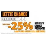 """XXL Sports Filialen – 25 % Rabatt auf """"letzte Chance Produkte"""" (bis 29.06.)"""