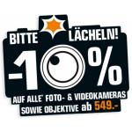 10% Rabatt auf alle Foto- & Videokameras sowie Objektive ab 549 €