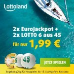 Lottoland Neukunden: 2x EuroJackpot + 2x Lotto 6aus45 um 1,99 €