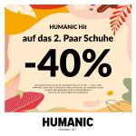 Humanic – 40% Rabatt auf das zweite Paar Schuhe & gratis Versand