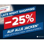 Hervis Late Night Shopping – 25% Rabatt auf (fast) alle Jacken