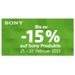 Sony Produkte (TV, Audio & Foto) mit bis zu 15% Extra-Rabatt