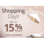 Lampenwelt Shopping Days – 15% Extra-Rabatt ab 300 € (inkl. Sale)