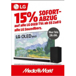 Media Markt – 15% Rabatt auf LG Soundbars & LG TVs ab 55″