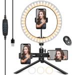 HAPAW Selfie Ringlicht mit 3 Handyhalter & Fernbedienung um 8,57 €