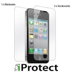"iProtect iPhone 4 / 4S ""CrystalClear"" 3 x Vorderseite + 1 x Rückseite Displayschutzfolien um 3,99€ @Amazon.de"