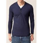 Jack & Jones Long Sleeve Y-Neck T-Shirt in dunkelblau oder weiß